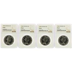 Lot of (4) 1964 Canada $1 Silver Dollar Proof Coins NGC PL66