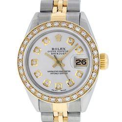 Rolex Ladies Two Tone 14K Silver Diamond Datejust Wristwatch
