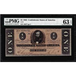 1864 $1 Confederate States of America Note T-71 PMG Choice Uncirculated 63EPQ
