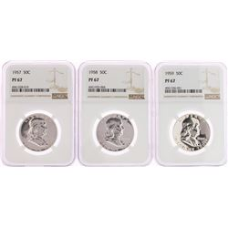 Lot of 1957-1959 Proof Franklin Half Dollar Coins NGC PF67