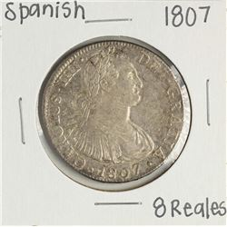 1807 Spanish 8 Reales Colonial Silver Coin