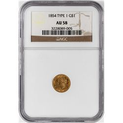 1854 Type 1 $1 Liberty Head Gold Dollar Coin NGC AU58