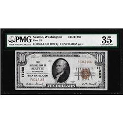 1929 $10 NB of Seattle, WA CH# 11280 National Currency Note PMG Choice Very Fine 35