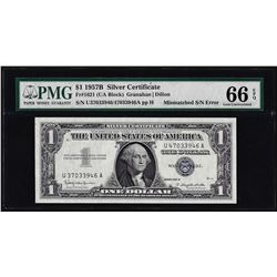 1957B $1 Silver Certificate Note Mismatch Serial Number PMG Gem Uncirculated 66EPQ