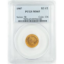 1907 $2 1/2 Liberty Head Quarter Eagle Gold Coin PCGS MS65
