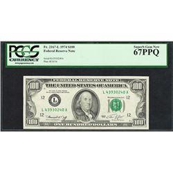 Finest Known 1974 $100 Federal Reserve Note Fr.2167-L PCGS Superb Gem New 67PPQ