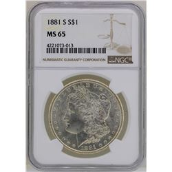 1881-S $1 Morgan Silver Dollar Coin NGC MS65