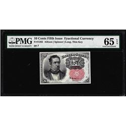 1874 10 Cent Fifth Issue Fractional Currency Note Fr.1265 PMG Choice Uncirculated 65EPQ