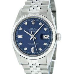 Rolex Men's Stainless Blue Diamond 36MM Datejust Wristwatch