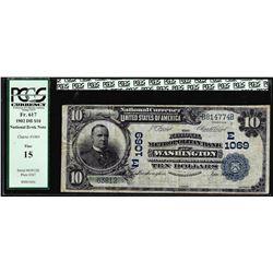 1902 DB $5 Metropolitan Bank of Washington, D.C. CH# 1069 National Note PCGS Fine 15