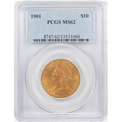 1901 $10 Liberty Head Eagle Gold Coin PCGS MS62