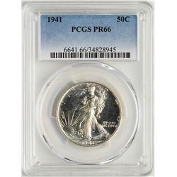 1941 Proof Walking Liberty Half Dollar Coin PCGS PR66