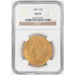 1900 $20 Liberty Head Double Eagle Gold Coin NGC AU55
