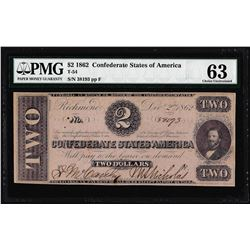 1862 $2 Confederate States of Note T-54 PMG Choice Uncirculated 63