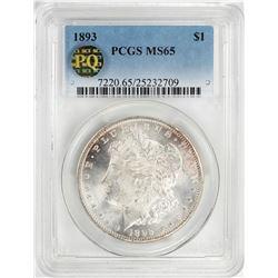 1893 $1 Morgan Silver Dollar Coin PCGS MS65 PQ