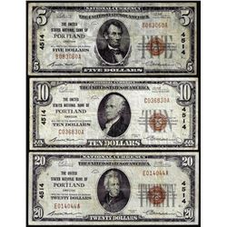 Set of 1929 $5/$10/$20 United States NB Portland, OR CH# 4514 National Currency Notes