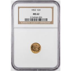1852 $1 Liberty Head Gold Dollar Coin NGC MS62