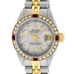 Rolex Ladies Two Tone Grey Diamond & Ruby 26MM Datejust Wristwatch