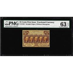 1862 First Issue 25 Cent Fractional Currency Note Fr.1282 PMG Choice Uncirculated 64EPQ
