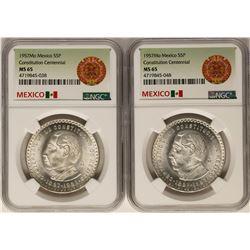 Lot of (2) 1957Mo Mexico 5 Pesos Constitution Centennial Silver Coins NGC MS65