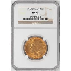 1907 $10 Indian Head Eagle Gold Coin NGC MS61