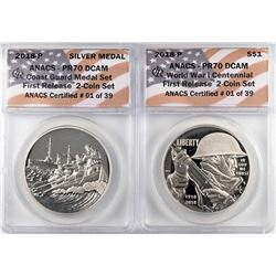2018-P Proof $1 WWI Centennial Coin & Coast Guard Medal Set ANACS PR70 DCAM First Release