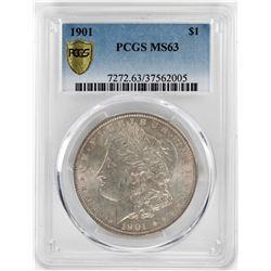 1901 $1 Morgan Silver Dollar Coin PCGS MS63