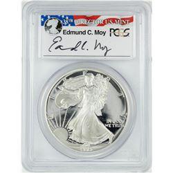 1993-P $1 Proof American Silver Eagle Coin PCGS PR69DCAM Edmund Moy Signature