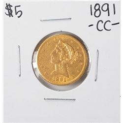 1891-CC $5 Liberty Head Half Eagle Gold Coin