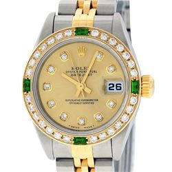 Rolex Ladies Two Tone 18K Quickset Champagne Diamond & Emerald Datejust Wristwatch