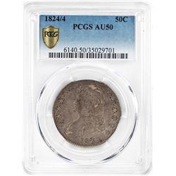 1824/4 Capped Bust Half Dollar Coin PCGS AU50