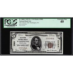 1929 $5 NB of Washington, PA CH# 3383 National Currency Note PCGS Extremely Fine 40