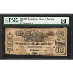 1861 $10 Confederate States of America Note T-29 PMG Very Good 10