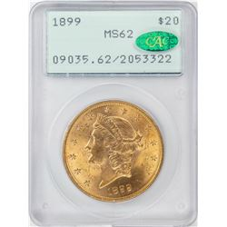 1899 $20 Liberty Head Double Eagle Gold Coin PCGS MS62 CAC Old Rattler Holder
