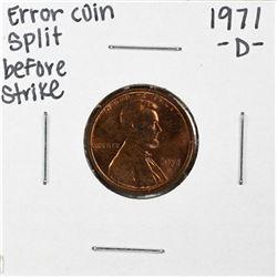 1971-D Lincoln Cent Error Coin Split Before Strike