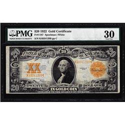 1922 $20 Gold Certificate Note Fr.1187 PMG Very Fine 30