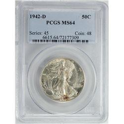 1942-D Walking Liberty Half Dollar Coin PCGS MS64