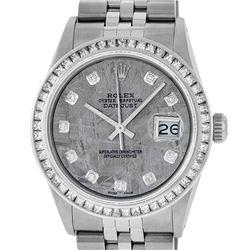 Rolex Men's Stainless Steel Meteorite Diamond Princess Cut 36MM Datejust Wristwatch
