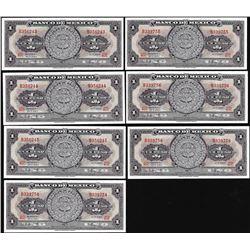 Lot of (7) 1967 Mexico Un Peso Aztec Calendar Notes