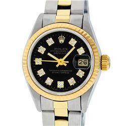 Rolex Ladies Two Tone 14K Black Diamond 26MM Datejust Wristwatch