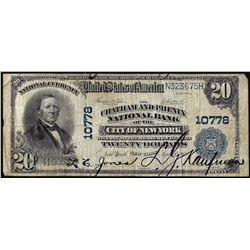 1902PB $20 Chatham and Phenix New York, NY CH# 10778 National Currency Note