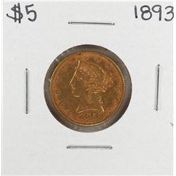 1893 $5 Liberty Head Eagle Gold Coin