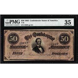 1864 $50 Confederate States of America Note T-66 PMG Choice Very Fine 35