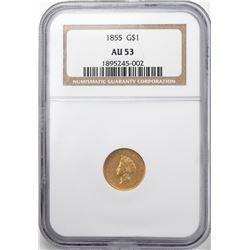 1855 Type 2 $1 Indian Princess Head Gold Dollar Coin NGC AU53