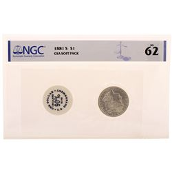 1881-S $1 Morgan Silver Dollar Coin with GSA Soft Pack NGC MS62