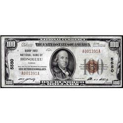 1929 $100 Bishop NB of Honolulu, HI CH# 5550 National Currency Note