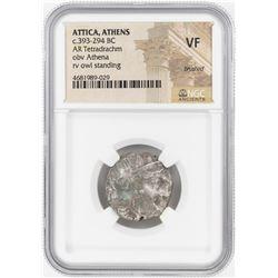 393-294 BC Attica Athens AR Tetradrachm Athena Owl Coin NGC VF
