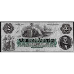 1800's $2 Bank of America Rhode Island Obsolete Note