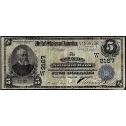 1902PB $5 Washington NB Washington, Kansas CH# 3167 National Currency Note