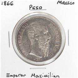 1866 Mexico Peso Emperor Maximilian Silver Coin